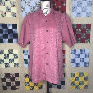 Tommy Bahama Floral Camp Shirt 100% Silk Size S
